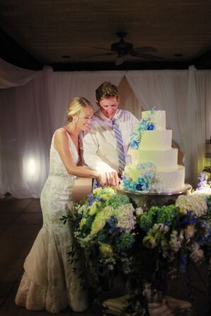 Couple Cutting Round, Tiered Cake