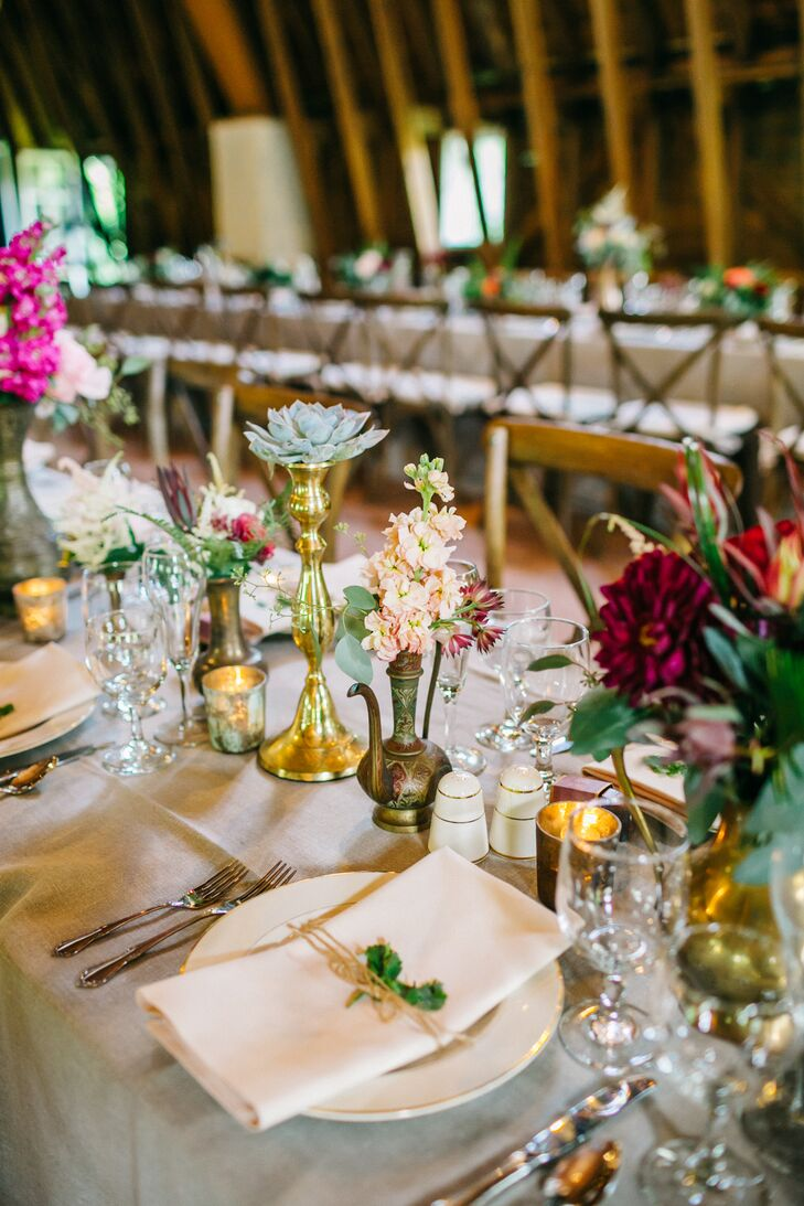 Gold Antique and Pink Floral Centerpieces