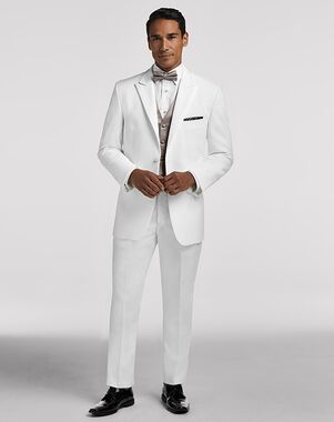 Men's Wearhouse Pronto Uomo White Satin Edged Peak Lapel White Tuxedo