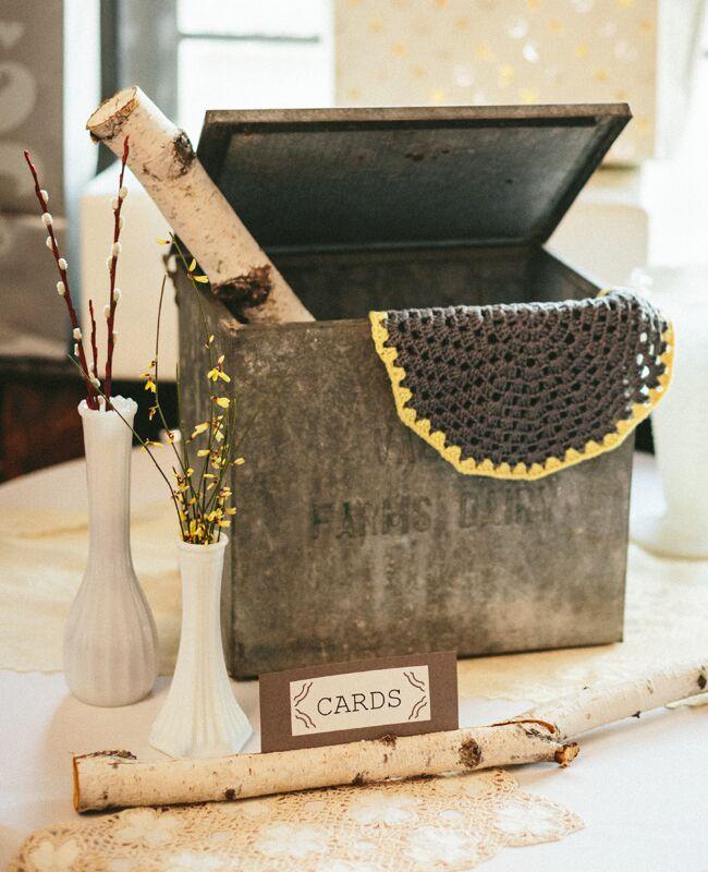 vintage milk box wedding card holder