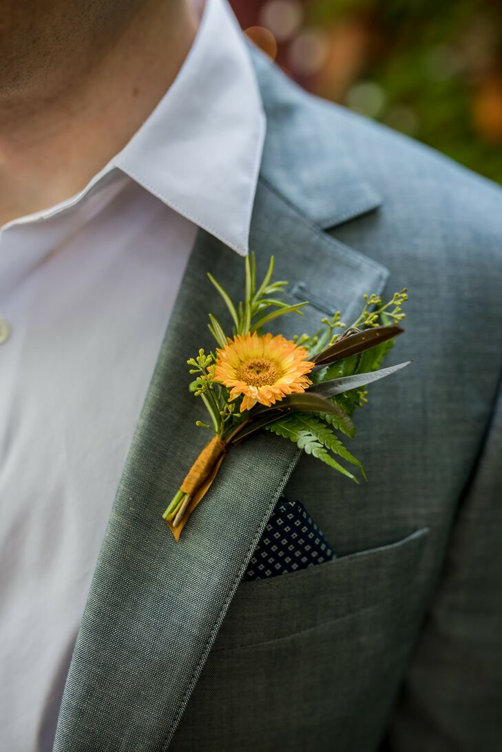 Rustic Yellow Daisy Boutonniere on Gray Suit