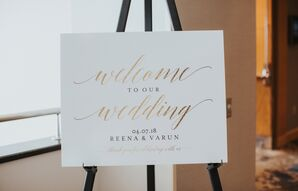 Simple Welcome Sign with Gold Lettering