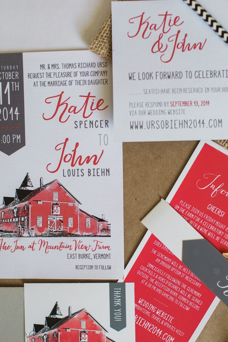 Katie, a designer by trade, created the invitation suite for the big day. A sketch of the classic red barn venue took center stage, while modern calligraphy accents offset the relaxed style.