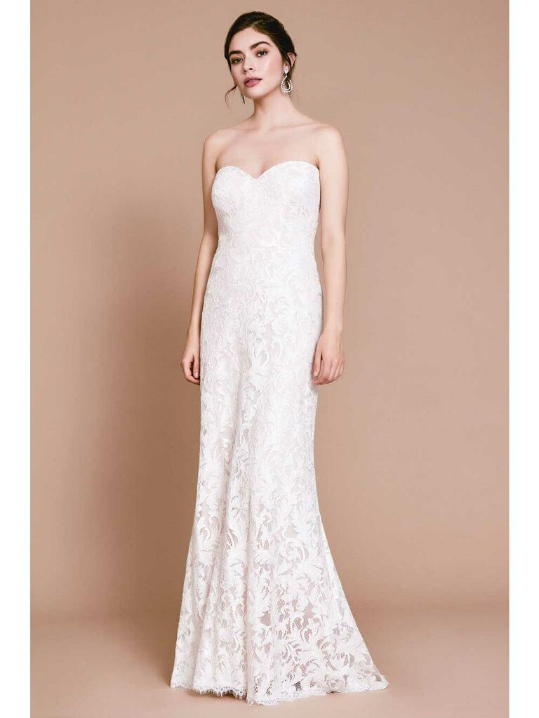 Simple strapless lace wedding dress with sweetheart neckline