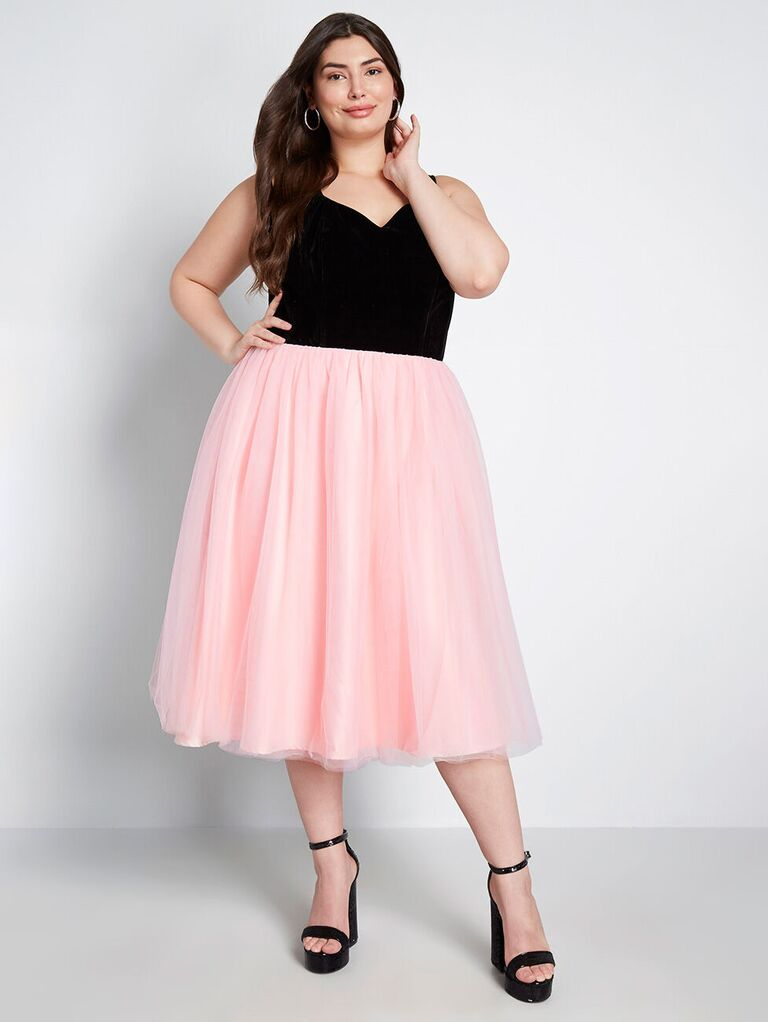 Pink and black tulle engagement party dress