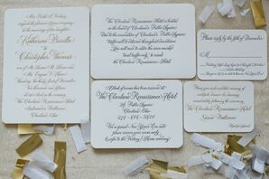 Custom Letterpress and Gold Foil Wedding Invitation Suite