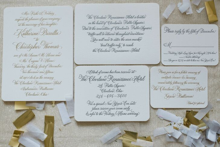 """I had so much fun designing our wedding paper suite,"" Kate says of their custom letterpress and gold foil invitations."