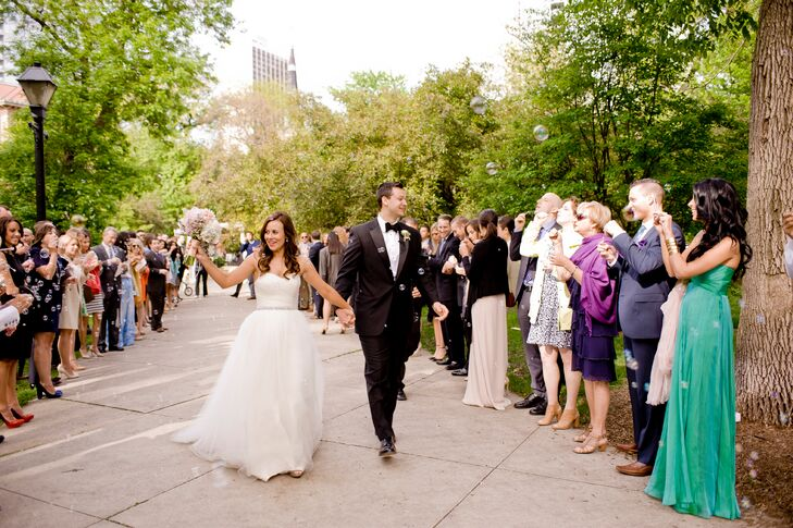 """Lindsay purchased this strapless Amy Kuschel ball gown from the Gown Shop in Ann Arbor, Michigan. """"The timeless style of the dress was what I had always envisioned when I thought about the perfect bride,"""" she says."""