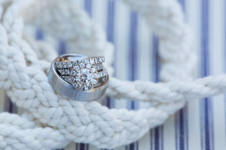 Brooke and Clayton's first date was in San Francisco, California; six years later, they got married in the same area. Clayton proposed to Brooke with a round-cut diamond ring in an embellished halo setting, which inspired the design of her ring.