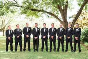Classic Black Tuxedos with Matching Bow Ties