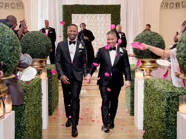 couple walking up the aisle for ceremony exit