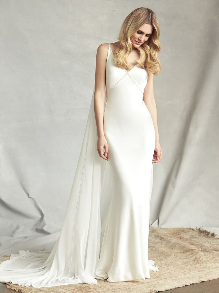 Savannah Miller Spring 2020 Bridal Collection wedding dress with train and subtle embellishments