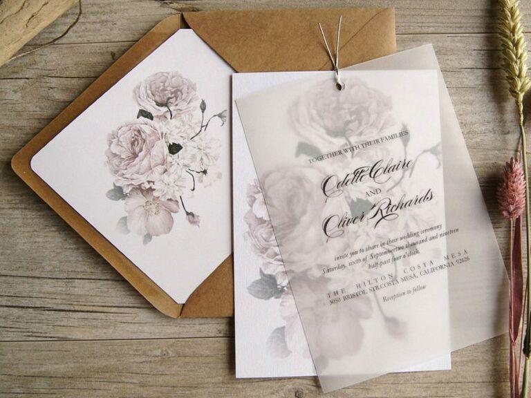 Etsy vellum floral spring wedding invitation