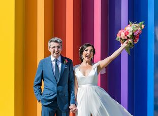 Bursting with bright cheerful colors, Gabi Baetti and RJ Rico's waterfront wedding in Santa Barbara, California, perfectly captured the day's feel-goo