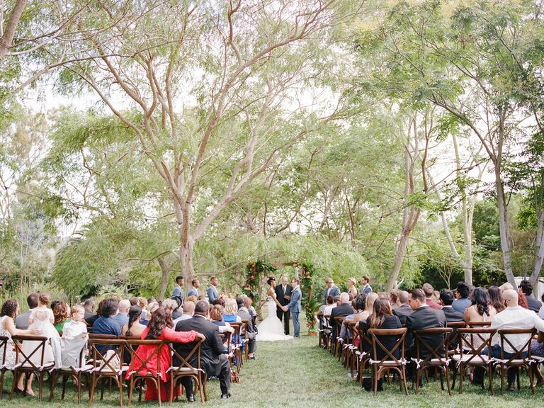 Guests at outdoor summer wedding ceremony