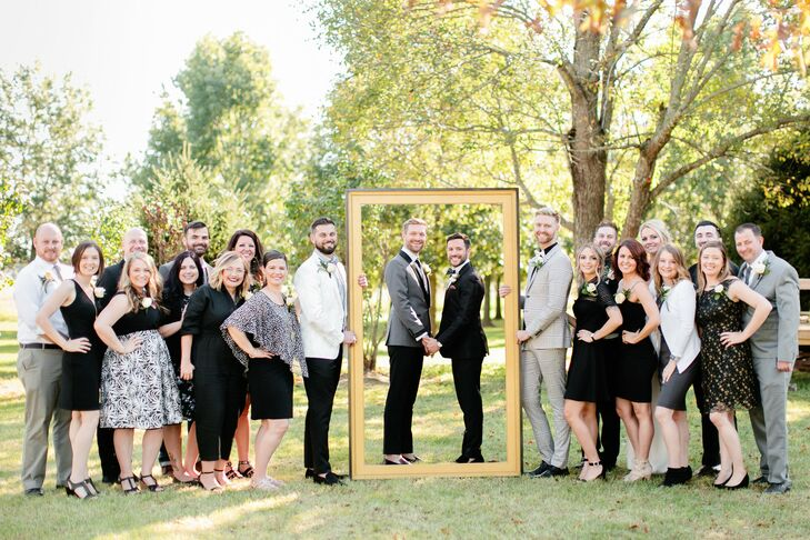 Same-Sex Couple with Wedding Party in Springfield, Missouri