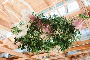 Hanging Installation with Greenery and Dried Grasses