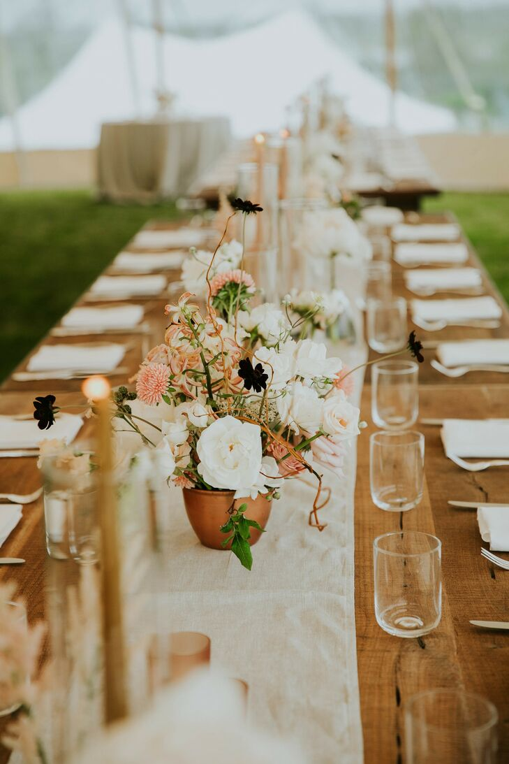 Boho-Inspired Table Arrangements at Wedding in Southampton, New York