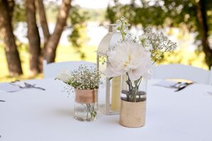 Ivory Floral Centerpieces with Lanterns