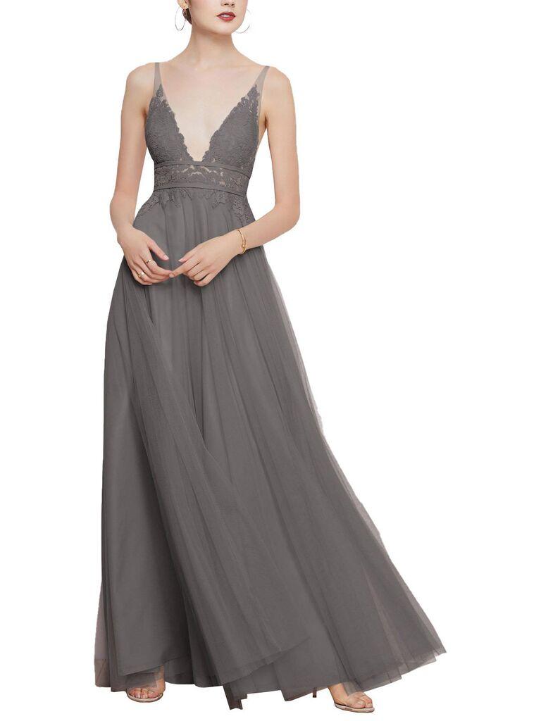 Long gray lace bridesmaid dress