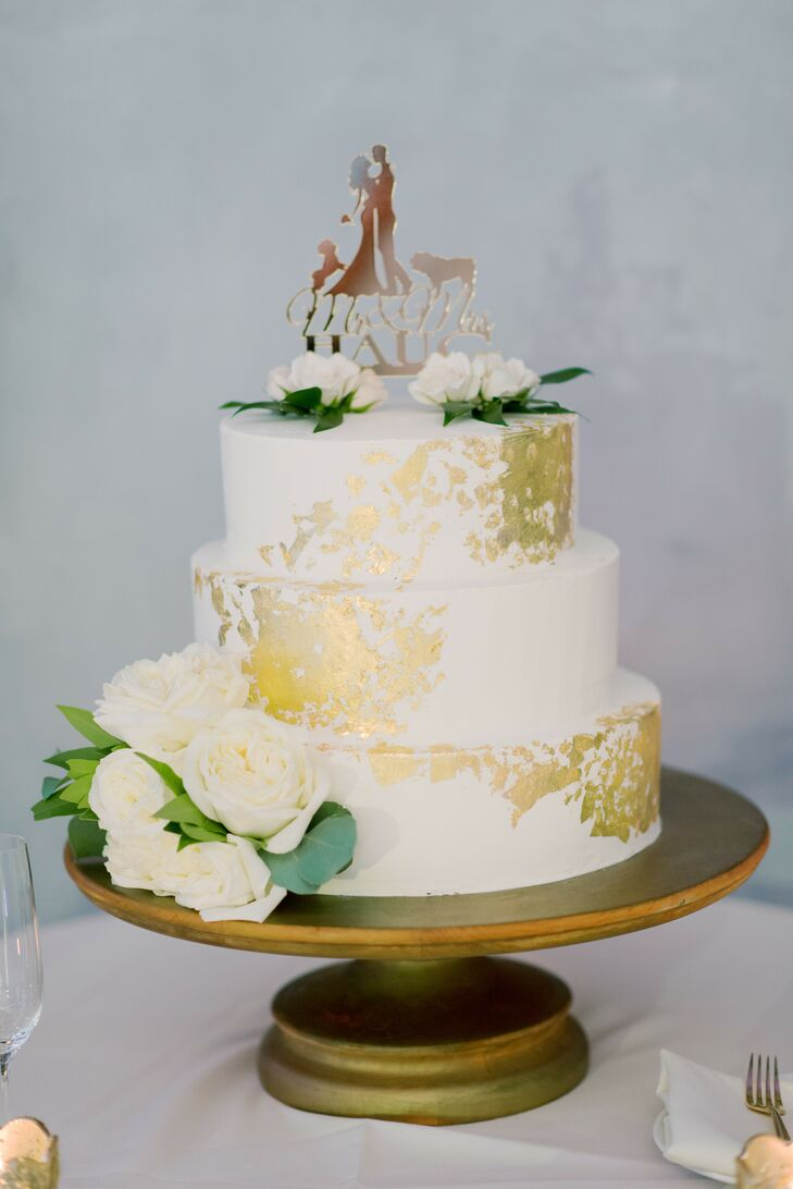 White Cake With Gold Leading and Custom Cake Topper