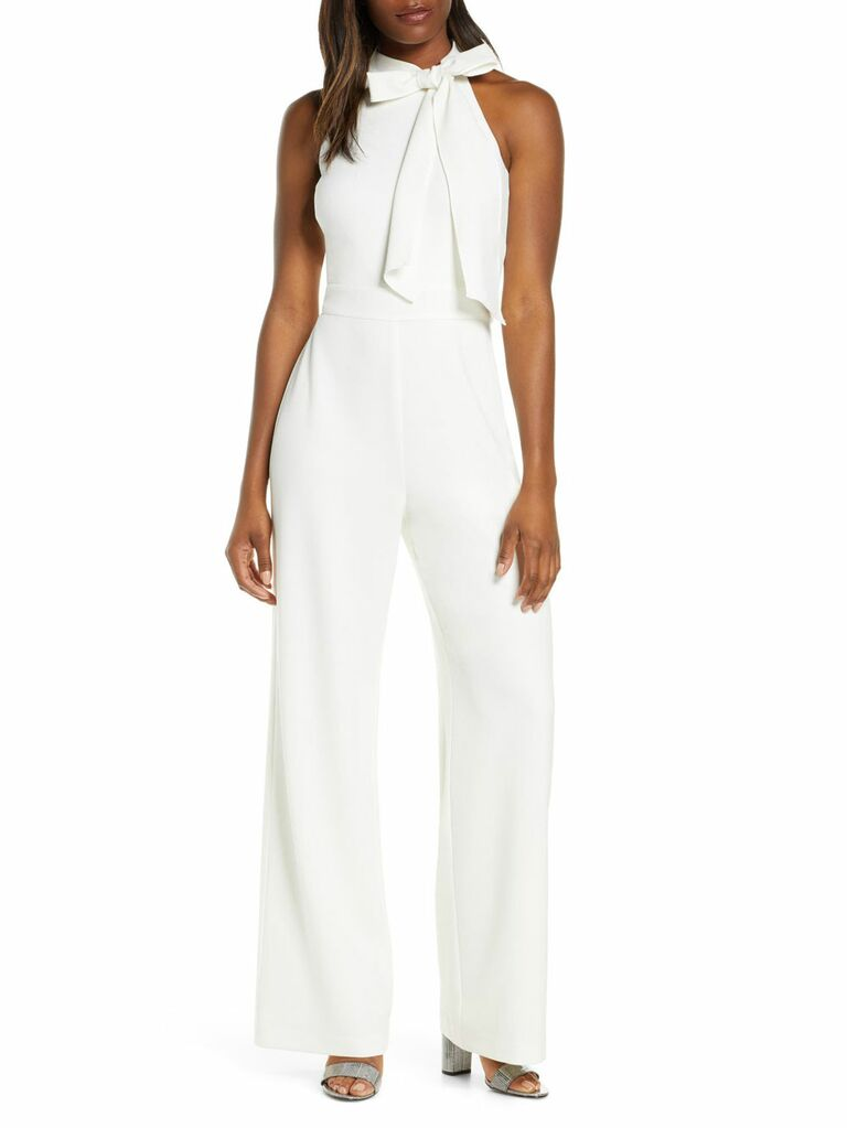 Ivory bow neck structured jumpsuit