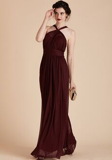 Birdy Grey Kiko Mesh Dress in Cabernet Halter Bridesmaid Dress