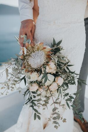 Hand-Tied Eucalyptus, Rose and Protea Bouquet