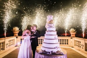 Luxe Nine-Layer Gold and White Wedding Cake