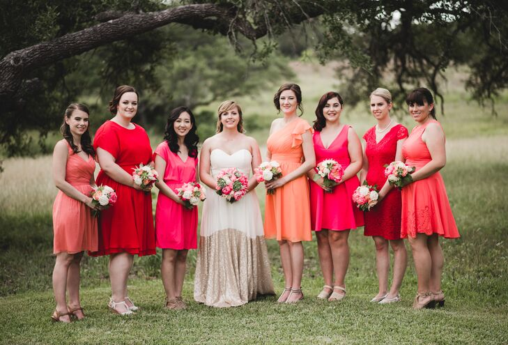 """For my bridesmaids I made them swatch books with our wedding colors and just asked that the dresses be cocktail length,"" recalls Victoria. ""The girls did a wonderful job on picking their dresses and they all came together beautifully. I trusted their tastes and it was one of the best decisions I made!"""