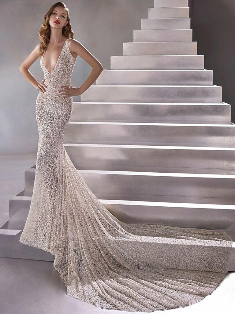 Atelier Provonias wedding dress sheer beaded mermaid gown