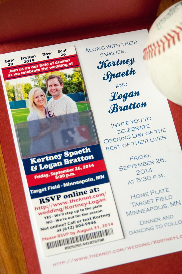The creative invitations mimicked baseball tickets.