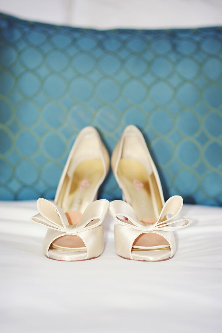 Heidi originally chose these ivory peep toes, but switched them out at the last minute for comfy, blush-colored wedges.
