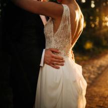 beaded wedding V-neck wedding dress side view