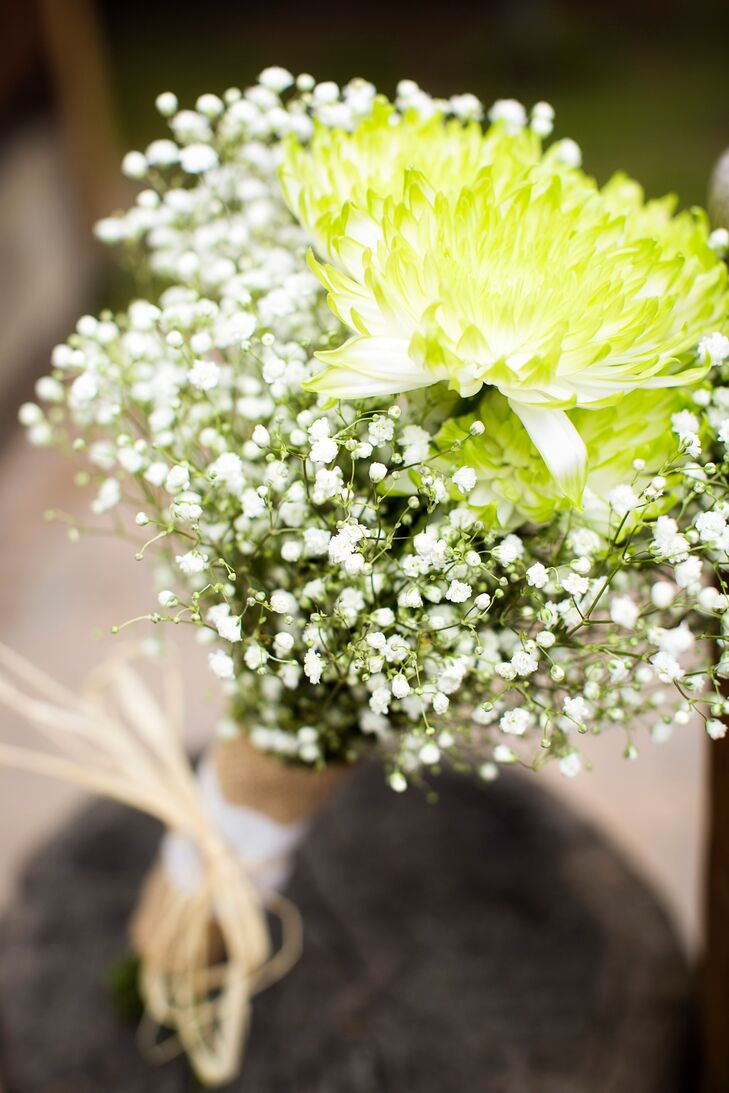 The simple bouquets had a light green aster surrounded by Baby's Breath.