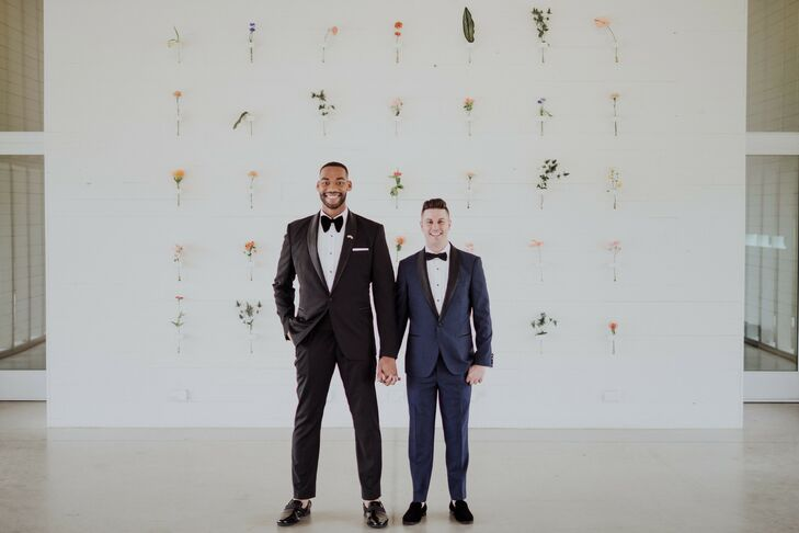 """DeAndreUpshaw (left) and Stuart Hausmann incorporated plenty of fun, colorful details into their modern wedding at Prospect House. """"For many of our g"""