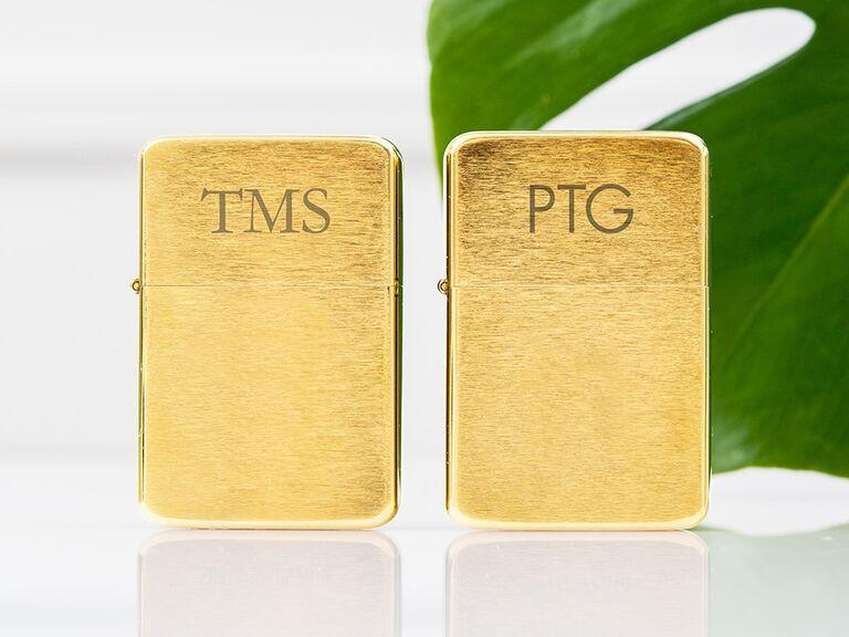 Gold monogram lighter gift for son-in-law