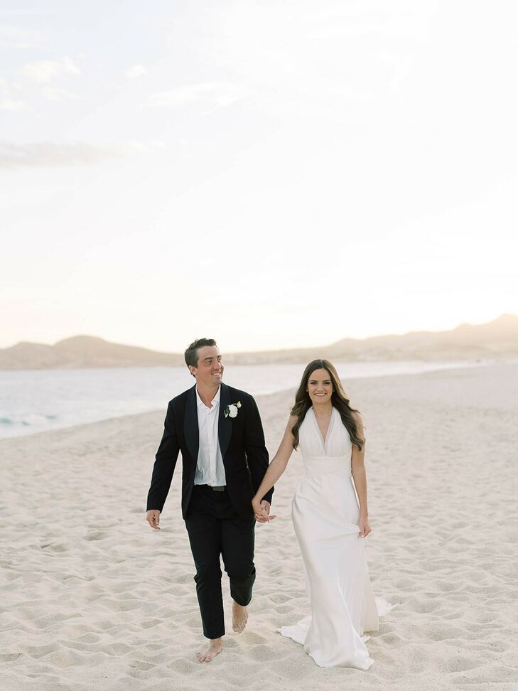 Bride and Groom Portraits on Beach in Cabo San Lucas, Mexico