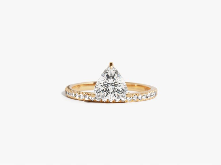 Triangle lab grown diamond engagement ring with pave band