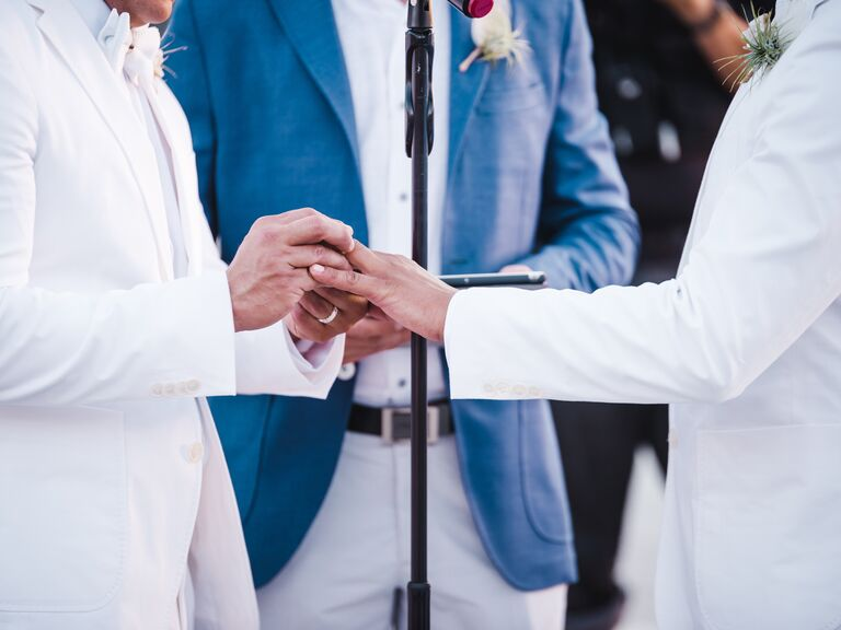 Exchange of rings ceremony with officiant, groom and groom