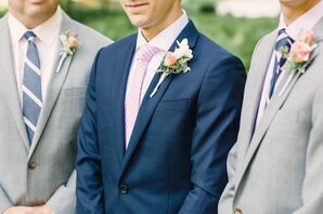 Navy Suit with Rose Boutonniere