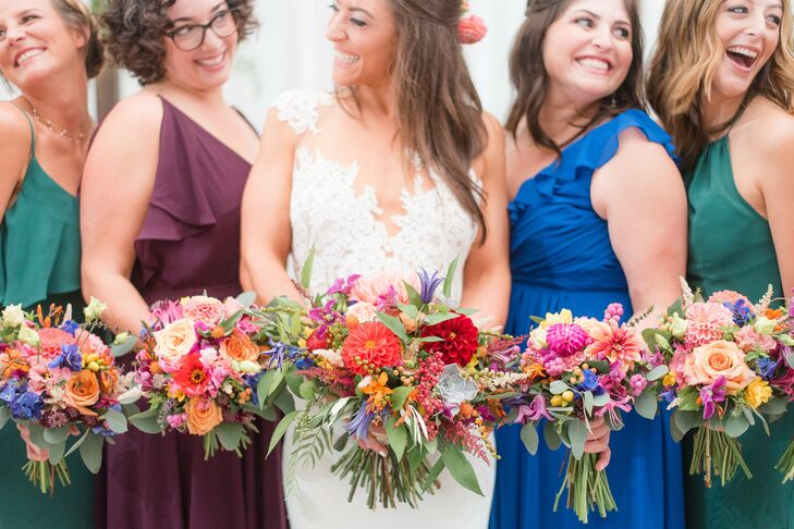 Colorful Dahlia and Rose Bouquets