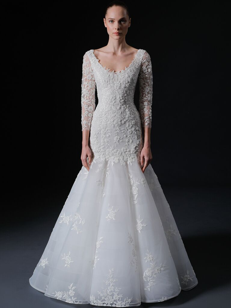 Isabelle Armstrong Spring 2020 Bridal Collection lace long sleeve scoop-neck wedding dress