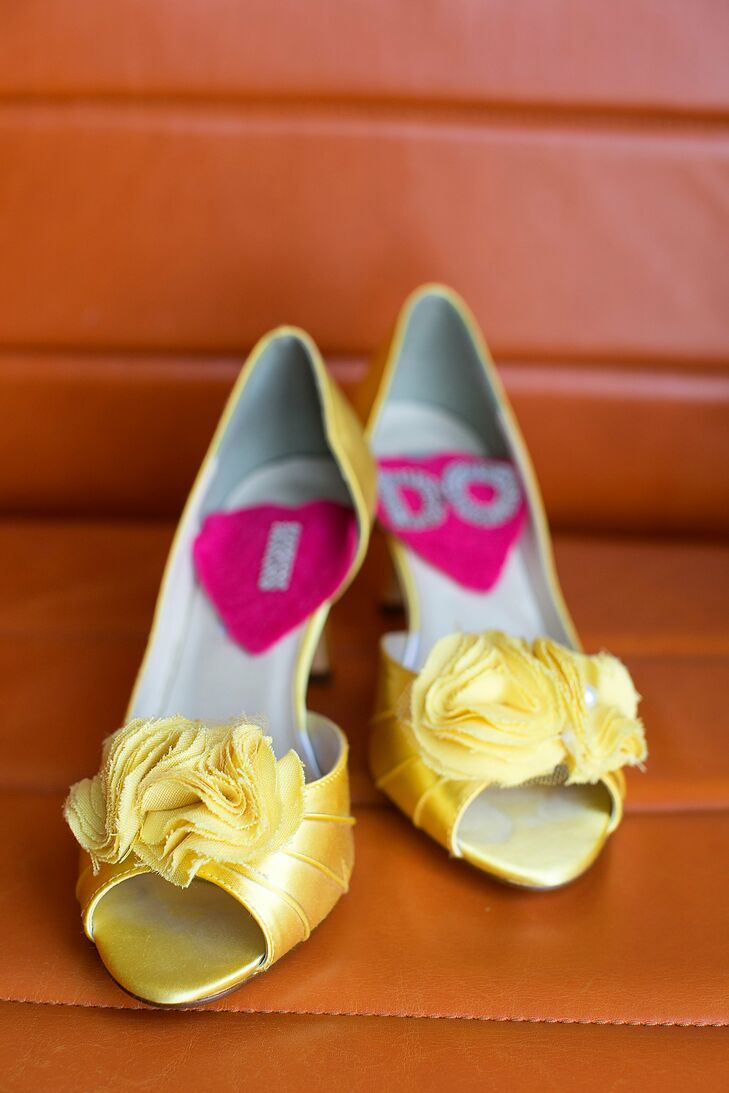 Flirty, yellow shoes were a must-have for Lindsay. She placed heart-shaped patches on the insoles that spelled out I DO for a sweet photo.