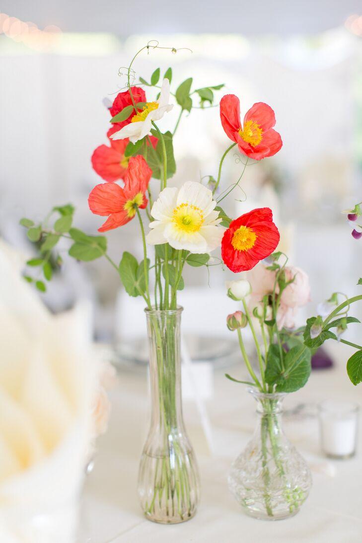 Red And White Poppy Arrangement
