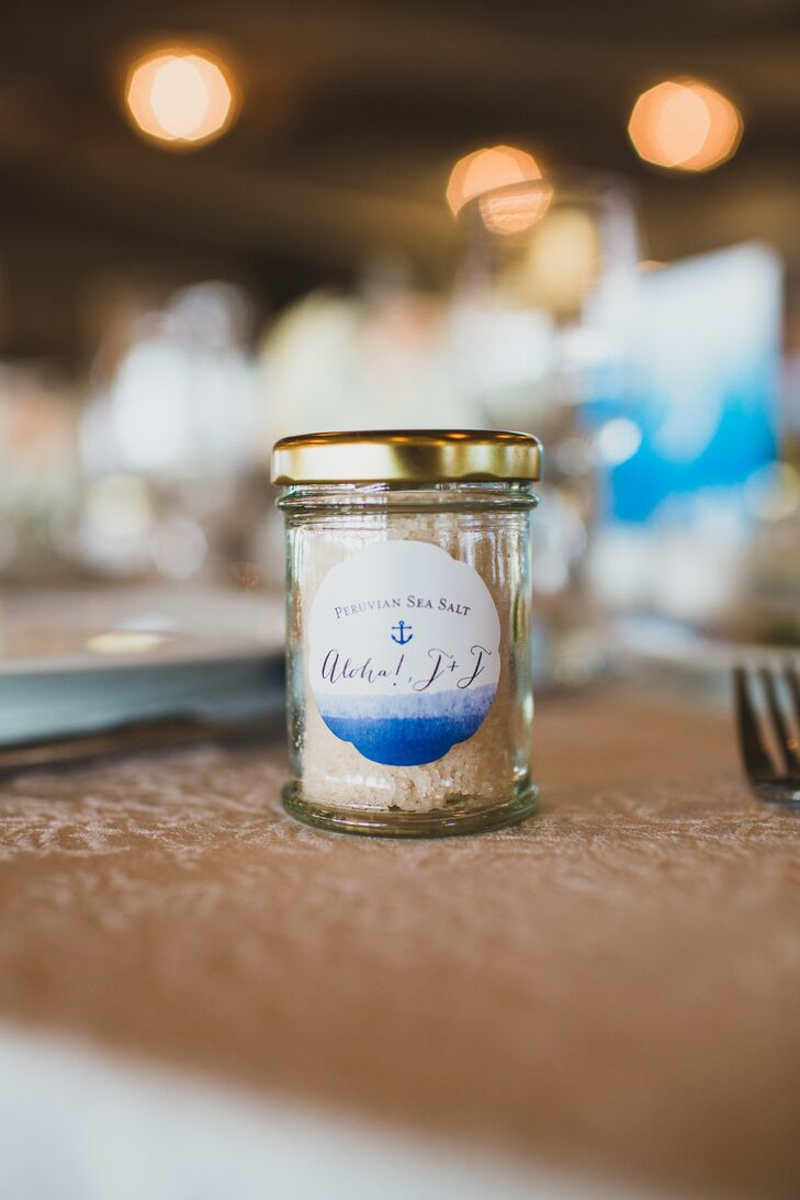 "Their wedding favors fit the theme and also nodded to Joe's Peruvian heritage and Jodi's cooking talents. They gave each guest a jar of Peruvian sea salt that resembled sand. ""It was a perfect gift that had pieces of us both in it,"" Jodi says."