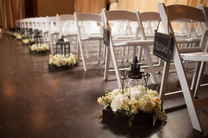 White Hydrangea And Lantern Aisle Decor