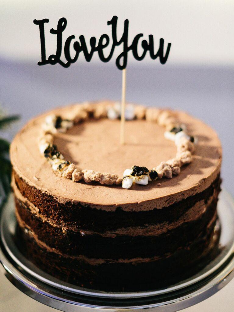 Single tier wedding cakes chocolate