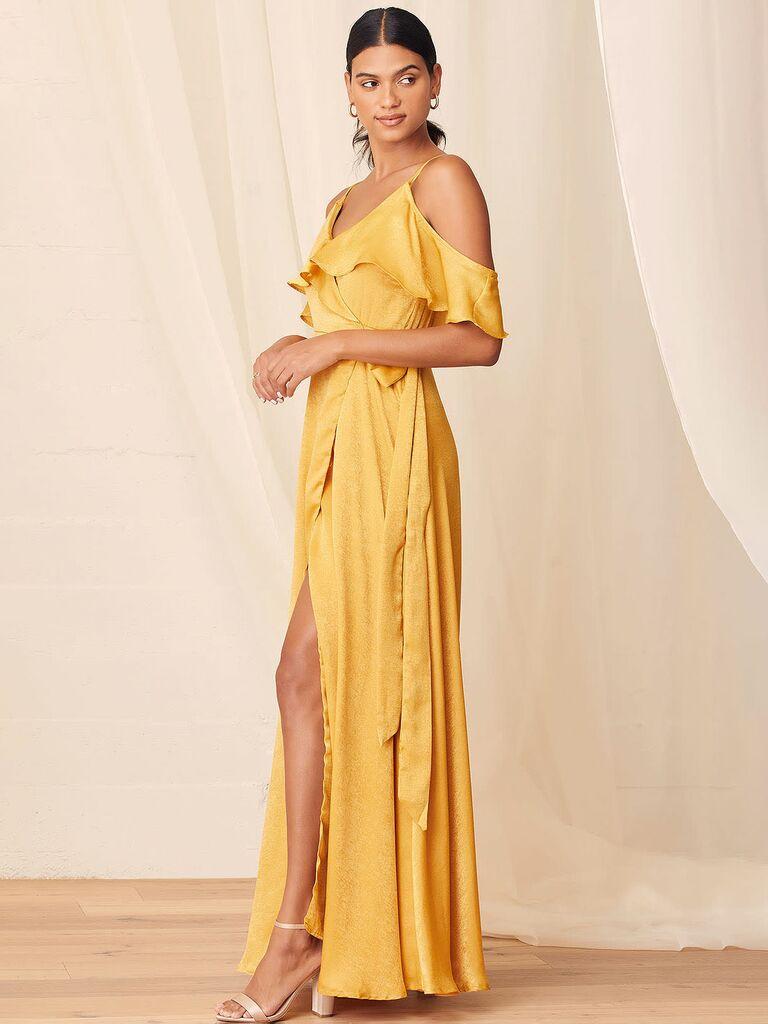 Lulus yellow satin wrap dress with ruffle details