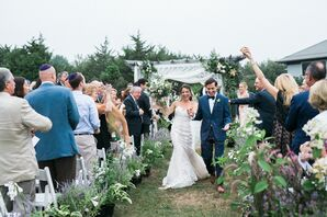 Guests Showering Couple with Dried Herbs and Flowers